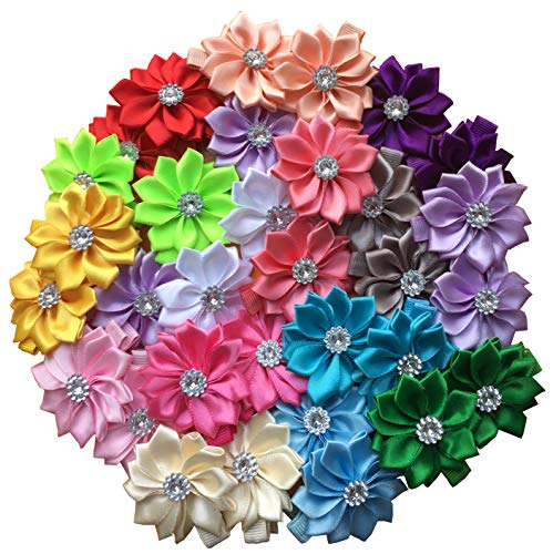 32 Pcs Girls Hair Clips Safety Clip Rhinestone Flower Barrettes for Toddler Girl Teens and Womens]()