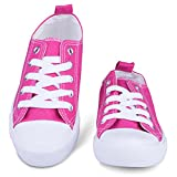 [sav103-pink-13] Girls Canvas Sneakers - Pink Tennis Shoes, Youth Size 13 | amazon.com