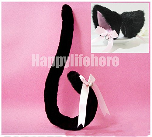 Anime Cosplay Costume Party Fox Cat Ears Hair Clips + Tail with Bell (Black)