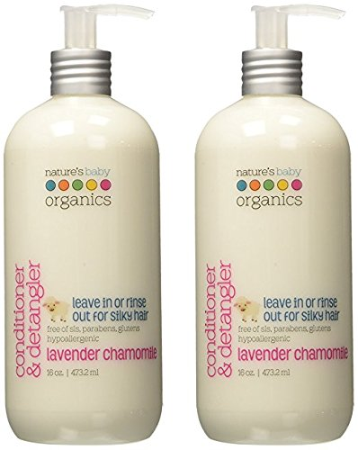 Nature's Baby Organics Conditioner & Detangler, Lavender Chamomile, 16 oz (2-Pack) | Babies, Kids, & Adults! Natural, Moisturizing, Gentle, Rich, Hypoallergenic | No Chemicals, Parabens, SLS, Glutens