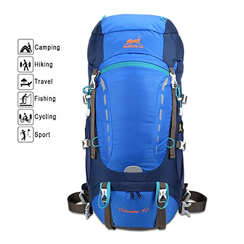 40L Hiking BackPack, AMEISEYE Internal Frame Daypack,Waterproof Trekking Rucksacks with Rain Cover,Travel Knapsack for Climbing Camping Mountaineering Fishing (Blue)