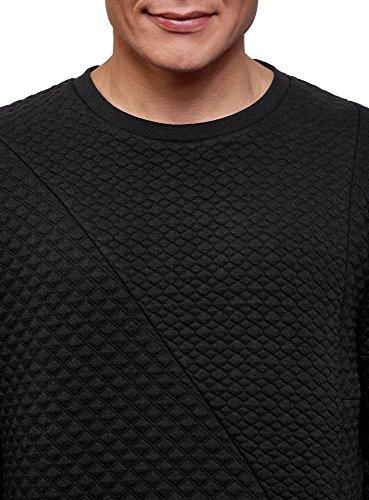 Noir Avec Géométrique Pull En 2900n Ultra Motif Oodji Homme Texturé Tissu 8wa6Yzq