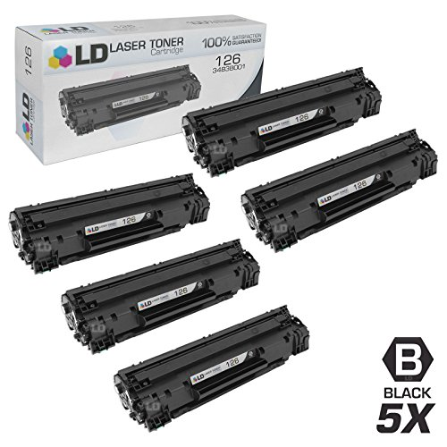 LD © Compatible Replacements for Canon 3483B001 (126) Set of 5 Black Laser Toner Cartridges for use in Canon ImageClass LBP6200d, and LBP6230dw Printers