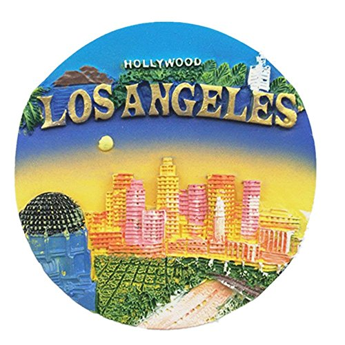 (JIAN AI 3D Hollywood Los angeles USA refrigerator magnet, souvenir gift and home & kitchen polyresin Los angeles USA fridge magnet)