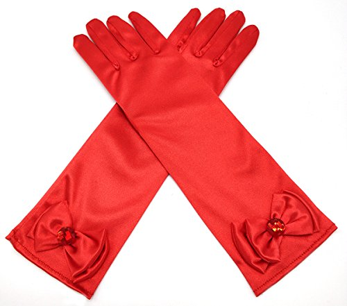 ALEAD Girls Long Satin Princess Dress Up Diamonds Bows Gloves for Kids (Red) ()