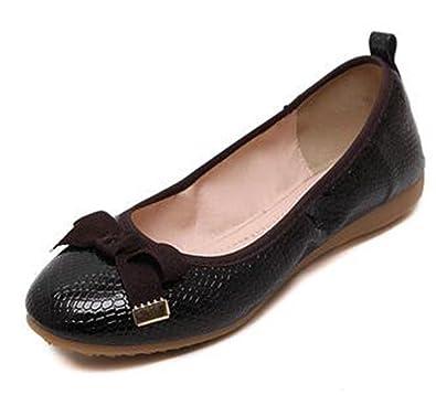Damen Elegant Rund Zehe Geschlossen Masche Schleife Sommer Ballerinas Schuhe Schwarz 36 EU Easemax aKV4cXKUKm