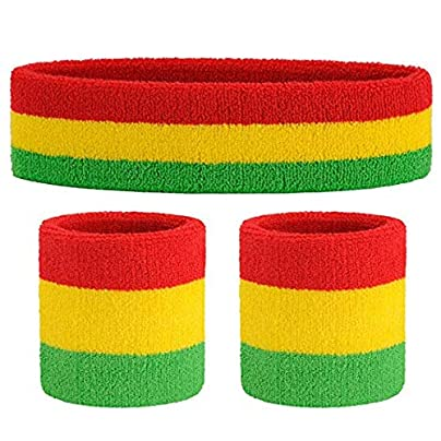 Lukiny Sweatband Set Sports Headband Wrist Striped Sweatbands Terry Cloth Wristband Athletic Exercise Basketball D Estimated Price -
