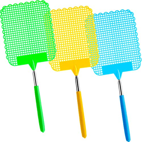 Tatuo 3 Pieces Large Extendable Fly Swatter, Manual Swat Pest Control with Strong Flexible Durable Telescopic Handle, Lightweight (Multicolor B)