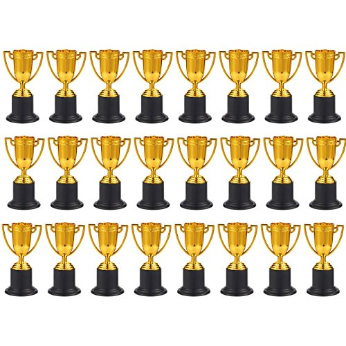 (Juvale Award Trophies - 24-Pack Plastic Gold Trophy Cups for Sports Tournaments, Competitions, Parties, 1.9 x 4 x 1.9 Inches)