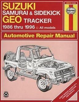 suzuki samurai sidekick geo tracker automotive repair manual 1986 rh amazon com Owners Manual 1995 Suzuki Sidekick 1995 Suzuki Sidekick Steering Wheel