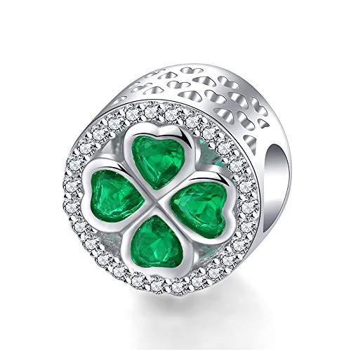 - stepforward 925 Silver Clover Charm Bracelet Crystal Charm for Women