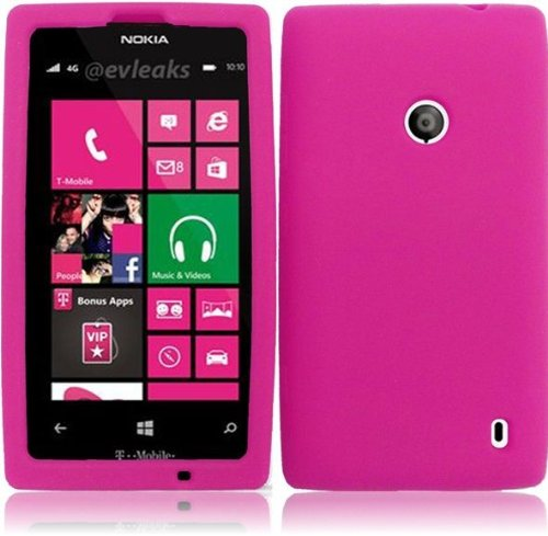 LF Pink Silicon Skin Soft Case Protective Cover, Lf Stylus Pen and Lf Screen Wiper Bundle Accessory For T-Mobil Nokia Lumia (Nokia Stylus)