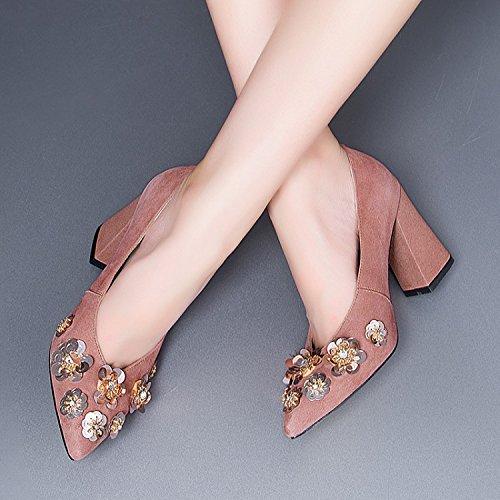 alto superficial y 34 de Treinta raiz zapatos Transpirable elegante cm seis boca Moda Sandalias 9 Zapatos de talon tacon AJUNR Solo de la rough loto mujer cabeza puntiaguda la Frosted zapatos fpwAZpqF8