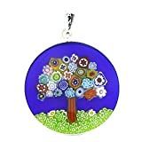 "GlassOfVenice Murano Glass Millefiori Pendant ""Tree of Life"" in Silver Frame 1"""