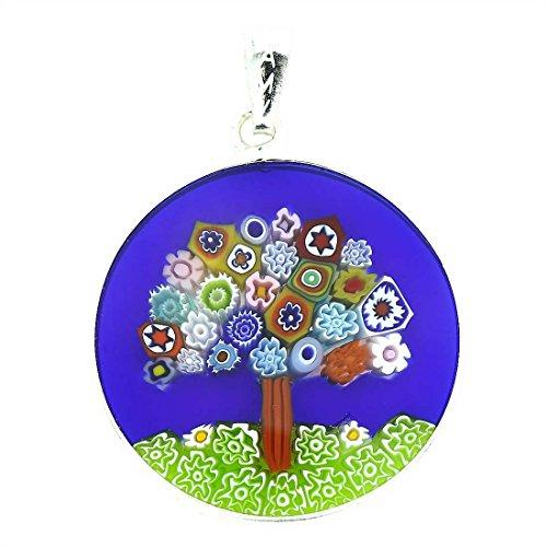 Millefiori Pendant Glass (GlassOfVenice Murano Glass Millefiori Pendant Tree of Life in Silver Frame 1