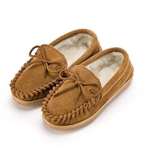 ther Childrens/Kids Wool-Blend Lined Moccasin Slippers (2 US) (Biscuit) ()