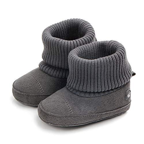 SCOWAY Baby Boys Girls Fleece Non-Skid Booties Newborn Infant Soft Warm Crib Shoes Winter Snow Boots Gray Bear L