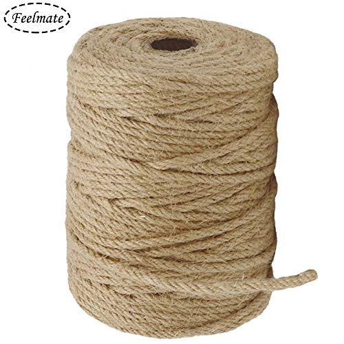 Feelmate 164Feet 4mm Natural Jute Rope Burlap Twine for Gardening, Hemp Cord DIY Arts & Crafts, Home Decor, Gift Wrapping