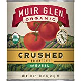 Muir Glen Canned Tomatoes, Organic Crushed Tomatoes with Basil, No Sugar Added, 28 Ounce Can (Pack of 12)