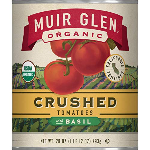 Muir Glen Canned Tomatoes, Organic Crushed Tomatoes with Basil, No Sugar Added, 28 Ounce Can (Pack of 12) (Organic Canned Tomatoes)