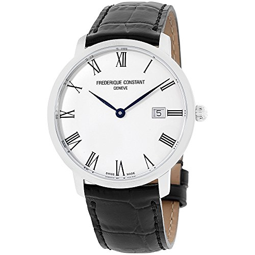 Frederique Constant Slimline Silver Dial Leather Strap Men's Watch FC306MR4S6XG (Certified Refurbished)