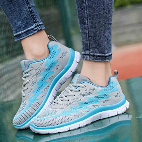 Passeggio Donne Zarupeng Casual Sneakers Tessere Scarpe Sportive Moda Blu Che Da Scarpa Volano Outdoor F75xTtpqw