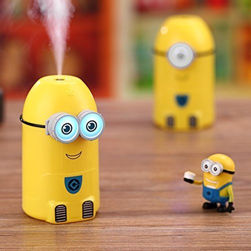Ultra Cool Mist Humidifier Shopsmartlife | Mini Minion USB Essential Oil Diffuser Air Purifier 250ml Colored LED Eyes in Dark for Kids, Office, Car and Home