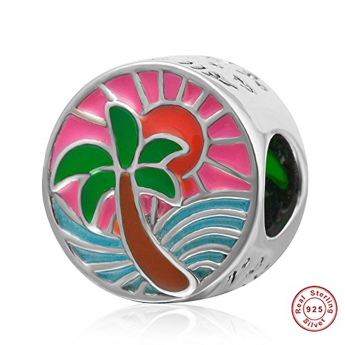 Tropical Sunset Charm 925 Sterling Silver Palm Tree Ocean Sun Beads Sea Waves Charms by Fit DIY Charms (Image #4)