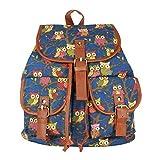 Urmiss Owl Printed Vintage Leisure Fashion Canvas Backpack Bookbag Travel Bag Blue