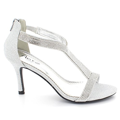 Prom Ladies Sandals Mid Diamante Silver High Party AARZ Crystal Bridal Size Shoes Heel Women Wedding LONDON Evening fUvEvwzq