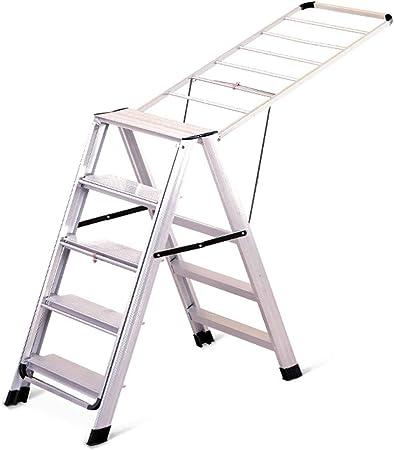 DZWSD Tendedero Escalera 5 peldaños 2 en 1 Aleación de Aluminio Resbalón Grueso No se oxida Taburete de Trabajo, Perfil Multifuncional Estante de Secado de Ropa, Peso del rodamiento 150kg: Amazon.es: Hogar