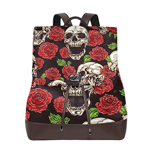 KUWT Skull and Red Roses PU Leather Backpack Photo Custom Shoulder Bag School College Book Bag Casual Daypacks Diaper Bag for Women and Girl -