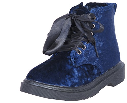 'Bebe Girls Crushed Velvet Combat Boots with Satin Laces, Navy, Size (Girls Blue Boots)