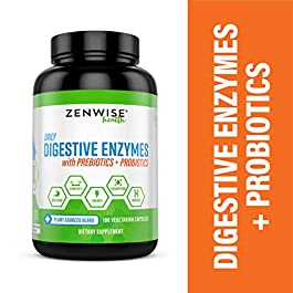Zenwise Health Digestive Enzymes Plus Prebiotics & Probiotics – Natural Support for Better Digestion & Lactose Absorption – for Bloating & Constipation + Gas Relief – 180 Vegetarian Capsules