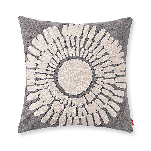 Grey Throw Pillow (baibu Cotton Sunflower Throw Pillow Embroidery Cushion Cover 18x18 inch Grey)