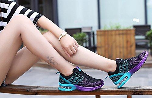 No.66 Town Dames Luchtkussen Flyknit Atletische Loopschoenen Fashion Sneakers Zwart Paars