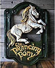 CCNINEZ Prancing Pony Sign, 11 X 7 Inch Handmade Bar Style Hanging Wall Decor, Personalized Pub Home Decorativ