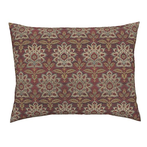 Roostery Ikat Floral Brocade Medieval Damask Turkish Red Standard Knife Edge Pillow Sham Carnations and Tulips Damask by Peacoquettedesigns 100% Cotton Sateen (Tulip Brocade)