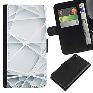 WINCASE (No Para Z3 plus+ / Z3 compact) Cuadro Funda Voltear Cuero Ranura Tarjetas TPU Carcasas Protectora Cover Case Para Sony Xperia Z3 D6603 - líneas minimalistas de ingeniería limpia