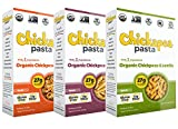 Chickapea Pasta Non-GMO Gluten Free Chickpea Lentil 3 Shape Variety Bundle, (1) each: Penne, Spirals, Shells (8 Ounces)