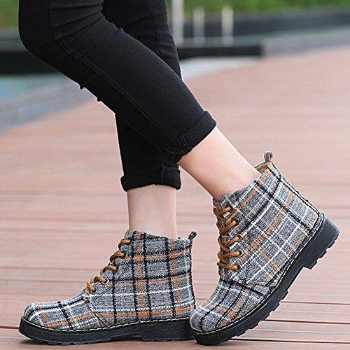 Womens Fashion Duk Runt Tå Lägenheter Boots Tillfällig Snörning Pläd Trikå Snö Toffeln Gul Pläd