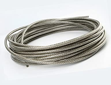 Muzata Vinyl Coated Galvanized Aircraft Cable, Wire Rope, 1/8\