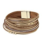 Jenia Beige Leather Rope Braided Bracelet - Alloy Beads with Cystal Multilayer Wrap Cuff Bangle Hand Woven Jewelry - for Women,Boy,Child,Teens Birthday Gift