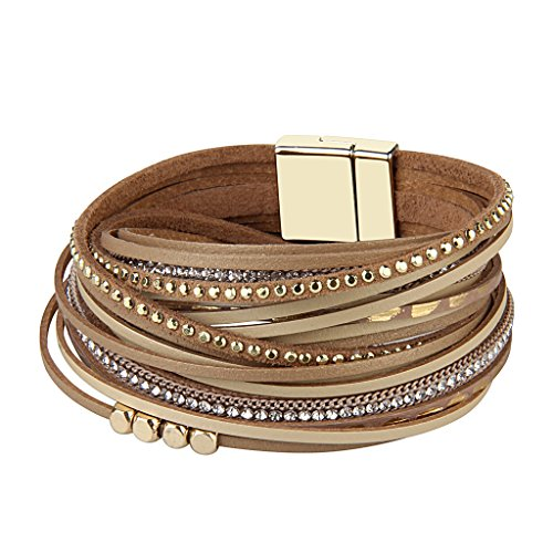 TASBERN Women Leather Wrap Bracelet in Goldplated Metallic Crescents and Crystal Cuff Jewelry for Ladies Girls (Beige Leather wrap -
