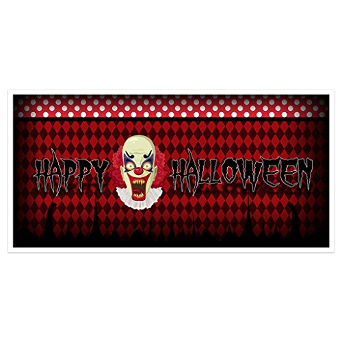 Scary Clown Halloween Party Banner Backdrop Decoration ()