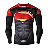 IdeaBox Men's Compression Shirt Super Hero Long Sleeve Workout Fitness Shirt