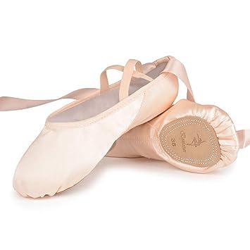 Bezioner Zapatillas de Ballet Suela Partida Satín Zapatos de Danza y Gimnasia con Cinta para Niñas y Adultos: Amazon.es: Deportes y aire libre
