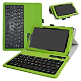 All-New Fire 7 2017 Bluetooth Keyboard Case,Mama Mouth Slim Stand PU Leather Cover With Romovable Bluetooth Keyboard For 7'' All-New Fire 7 (7th Gen, 2017 Release)/Fire 7 2015,Green