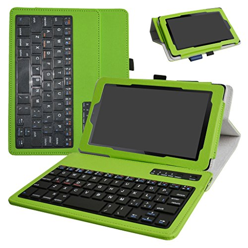 All-New Fire 7 2017 Bluetooth Keyboard Case,Mama Mouth Slim Stand PU Leather Cover With Romovable Bluetooth Keyboard For 7'' All-New Fire 7 (7th Gen, 2017 Release)/Fire 7 2015,Green by MAMA MOUTH