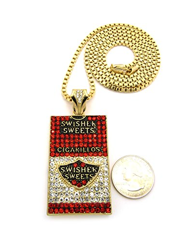(Mens Iced Out Hip Hop Gold Swisher Sweets Cigarillos Pendant Box Chain Necklace)